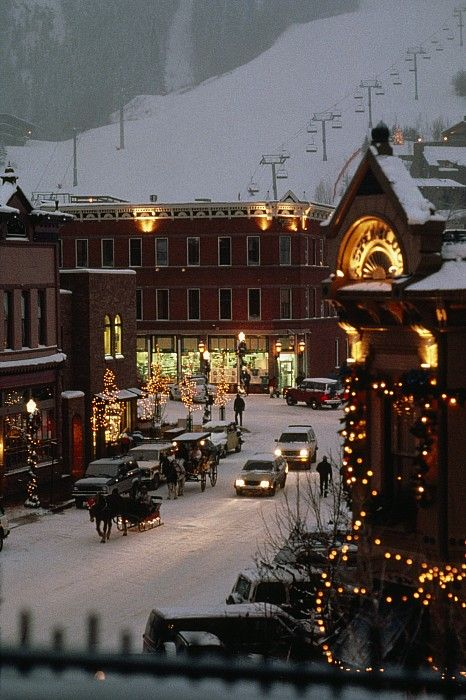Carriage and sled on the snowy streets in Aspen, Colorado; photo by Paul Chesley