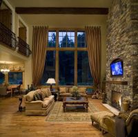 Great room with stone fireplace   House   Pinterest