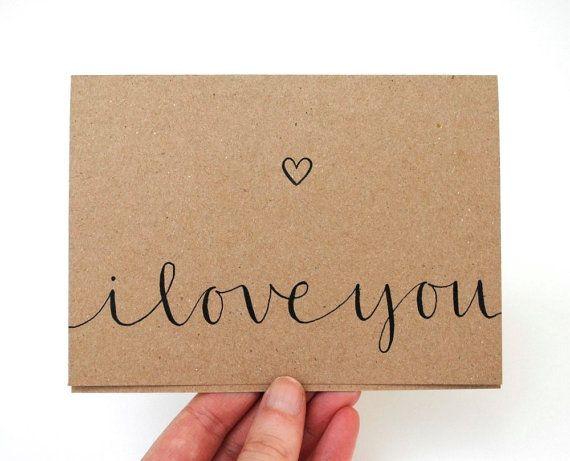 Romantic Greeting Card I Love You Handwritten