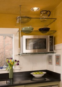 suspended glass shelf in kitchen | Kitchens | Pinterest