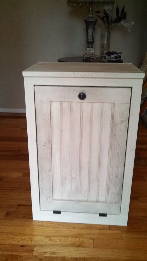 Wooden hand made trash bin cabinet Rustic farm style