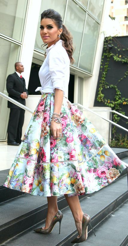 Alfreda Multicolor Floral Full A-skirt by Super Vaidosa