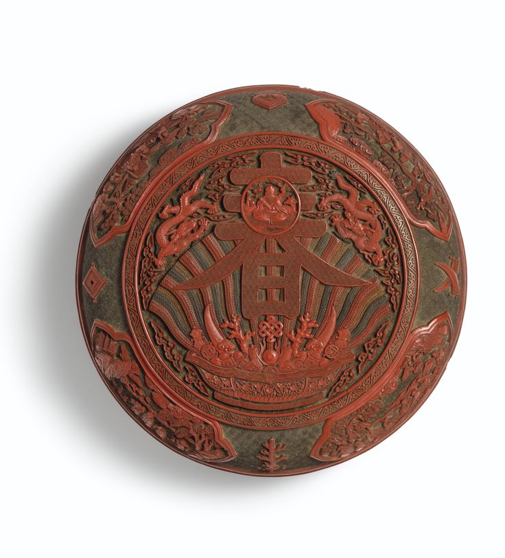 A FINELY CARVED POLYCHROME LACQUER 'CHUN' BOX AND COVER<br>MARK AND PERIOD OF QIANLONG   Lot   Sotheby's