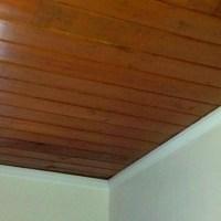 Wood plank ceiling | ceiling ideas | Pinterest