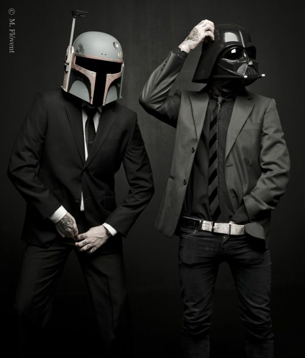 Boba Fett and Dart Vader in suits photo series by M. Flóvent.