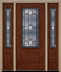 Fiberglass Exterior Elegant Front Entry Door Two Sidelites