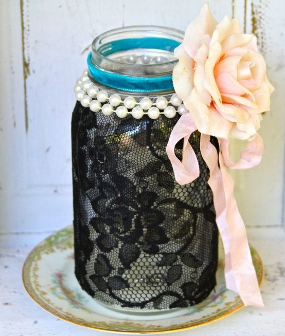 Great easy centerpiece idea! You could just change out the color of the flower!! Vintage Shabby Chic Ball Quart Mason Jar With Black Lace Vintage Pink Rose Pearls Ribbon Vase Candle Holder. $34.00, via Etsy... Im thinking DIY #Recipes