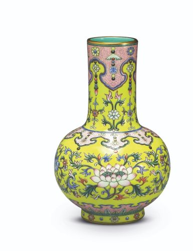 Yangcai yellow-ground 'double lotus' mallet-shaped vase, seal mark and period of Qianlong, dated to 1742, Qing Court collection © Collection of National Palace Museum, Taipei