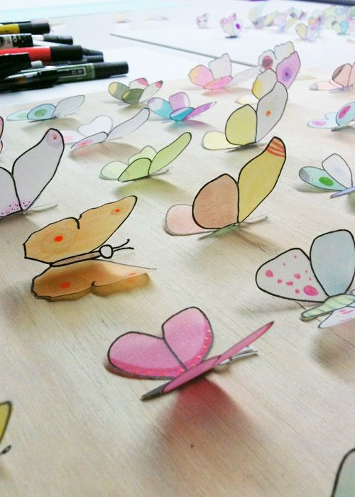 Hand-drawn, hand-cut and hand-coloured paper/vellum butterflies... perfect for handmade cards, tags, gift wrap, etc =)
