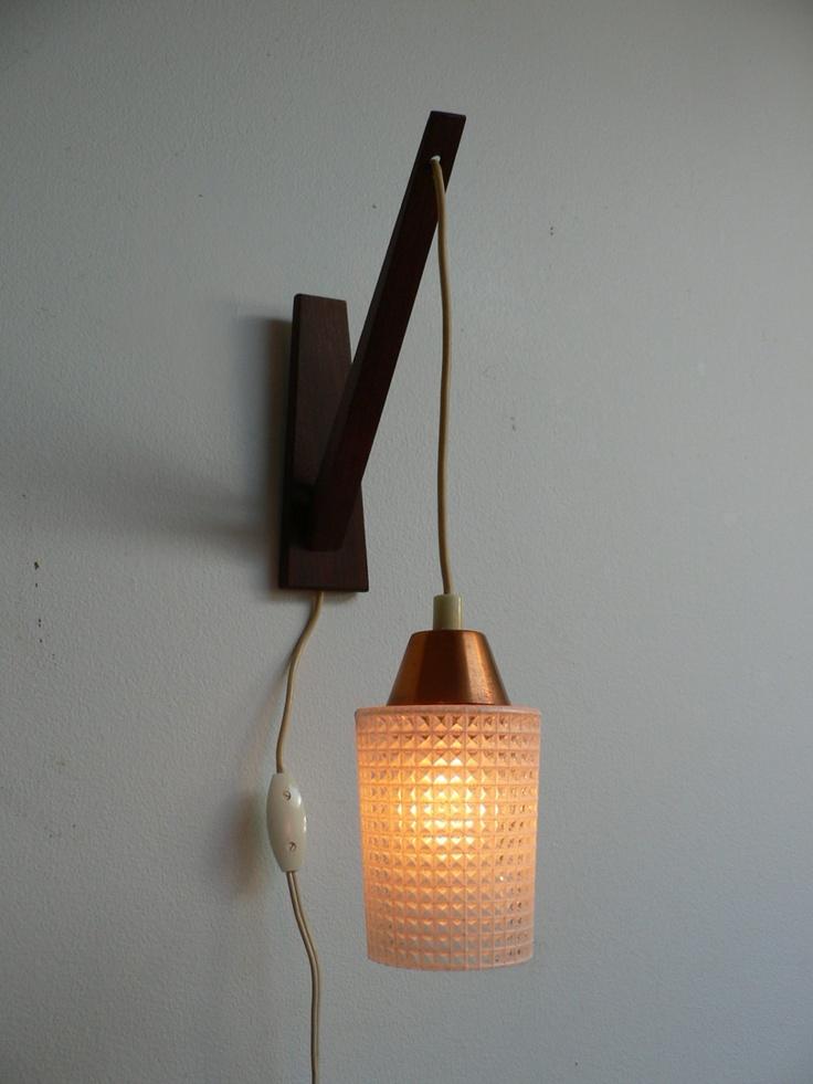 1950s Danish Modern Wood Swag Pendant Light /mid century