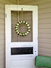 Old door front porch decoration