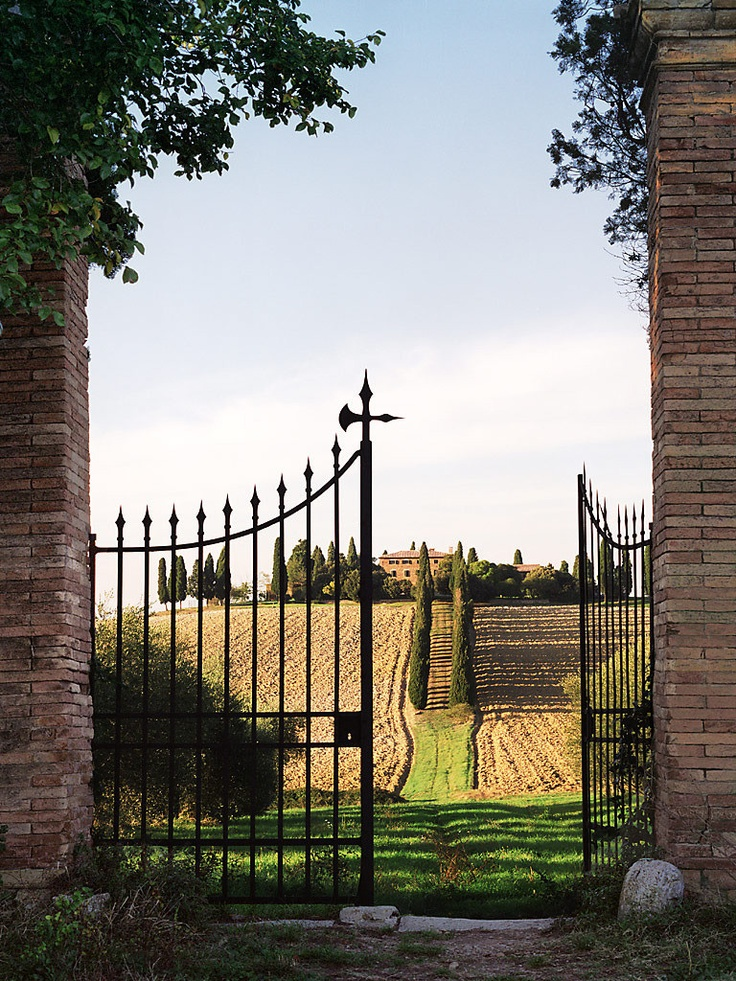 European photo of gates and road in the countryside of Tuscany, Italy by Dennis Barloga | Photos of Europe: Fine Art Photographs by Dennis Barloga