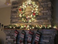 "Use wreath and ""K"" above fireplace 