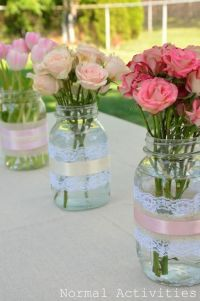 Mason Jar Centerpiece | party ideas | Pinterest