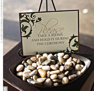 Pebble unity ceremony for wedding