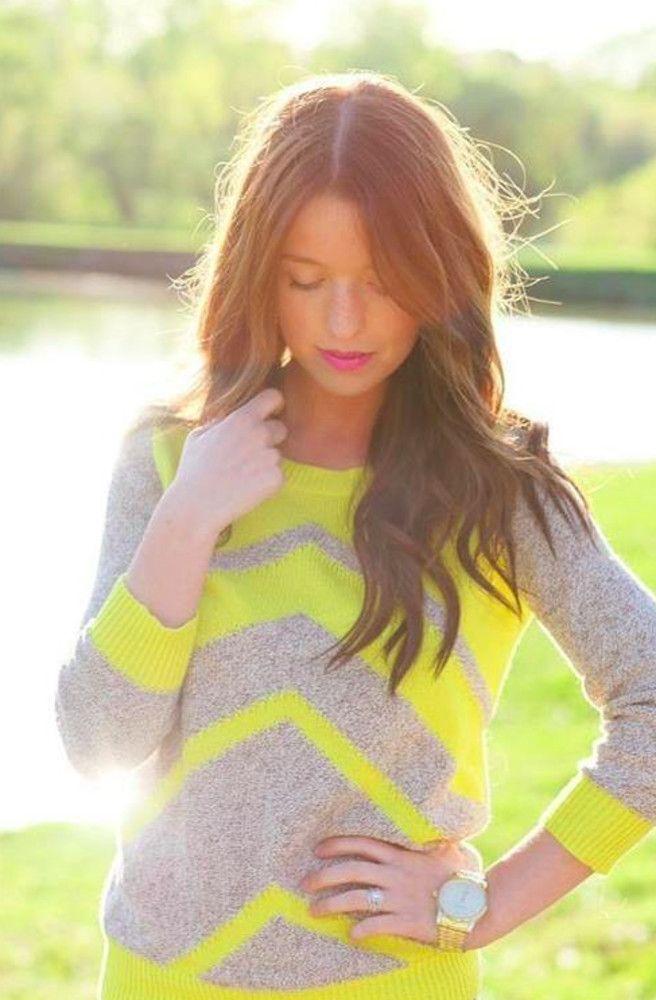 Gray & yellow chevron knit top