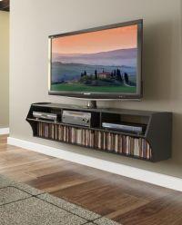 "BLACK 58"" Wall Mount Floating TV Stand ALTUS PLUS Shelf ..."