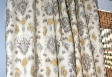 Yellow And Grey Ikat Curtains