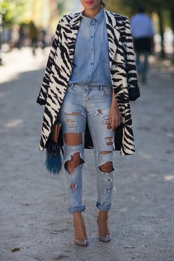 destroyed denim, denim on denim, zebra coat #outfit