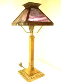 Antique Four Panel Slag Glass Gas Table Lamp