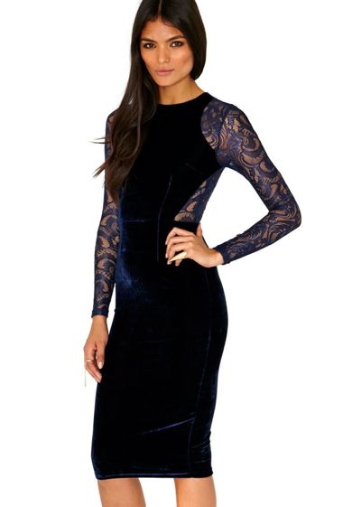 Blue Velvet & Lace Bodycon Midi Dress #longsleeve #holiday #partydress #nye #nyedress