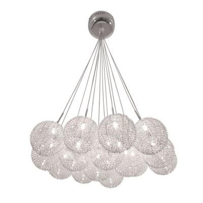 BAZZ Lume Series 15-Light Ceiling Mount Chrome Chandelier with Pendants Clear Balls Covered in a Metal Meshsed-P12421CH at The Home Depot