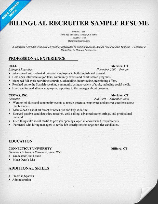 bilingual recruiter resume sample