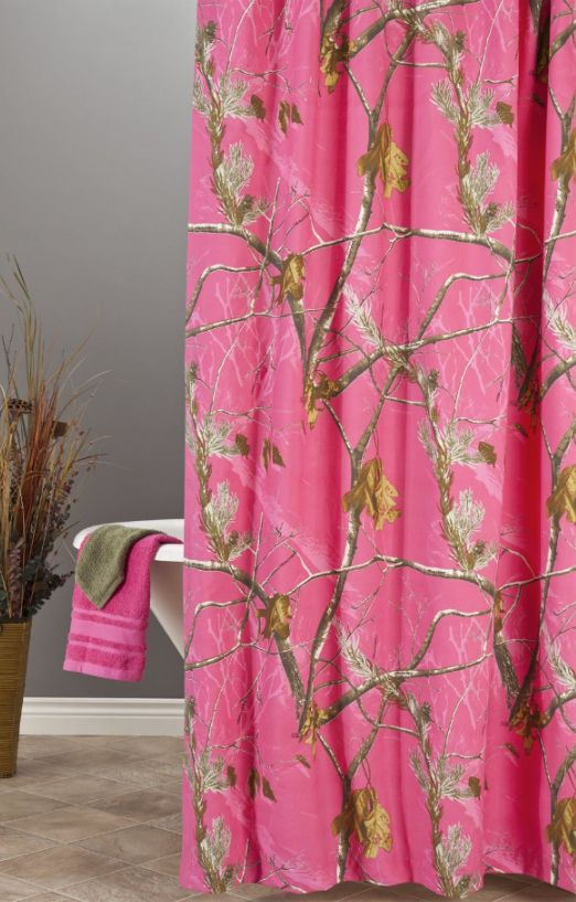 Realtree Hot Pink Camo Shower Curtain  Camo   Pinterest