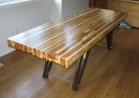 table made from 2x4 and 1x4 wood scraps