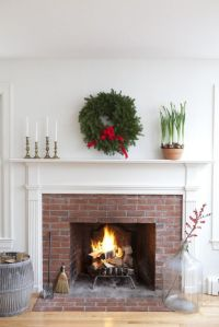 Simple Christmas fireplace and mantel. | Decorating ...