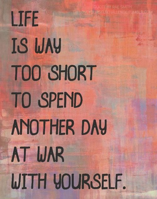 Life is way too short to spend another day at war with yourself.