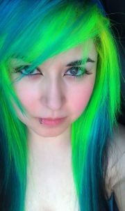bright green and blue dyed hair