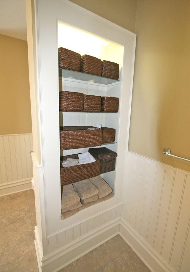 built in bathroom shelves  Home Decor  Pinterest