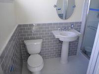 Gray subway tiles | Bathroom Ideas | Pinterest