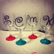 nail polish painted wine glasses