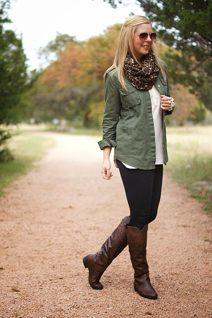 army green shirt, white shrts, leopard scarf, black leggings and brown boots