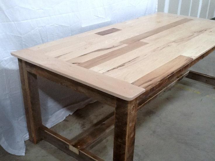 Rustic Colorado Barnwood Kitchen Table with HickoryPoplar