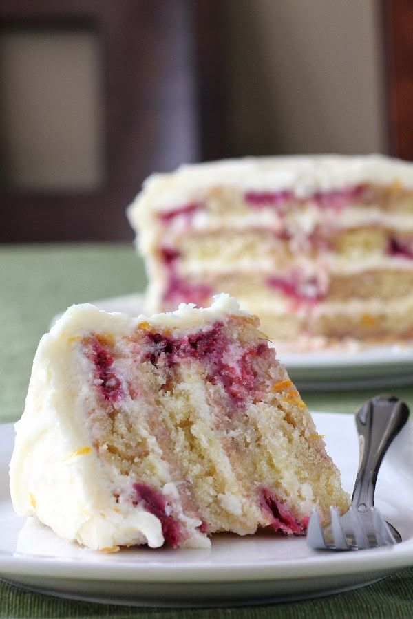 meyer lemon iced raspberry yogurt cake //