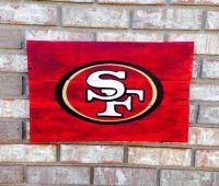 San Francisco 49ers logo wall art, handpainted, recycled wood