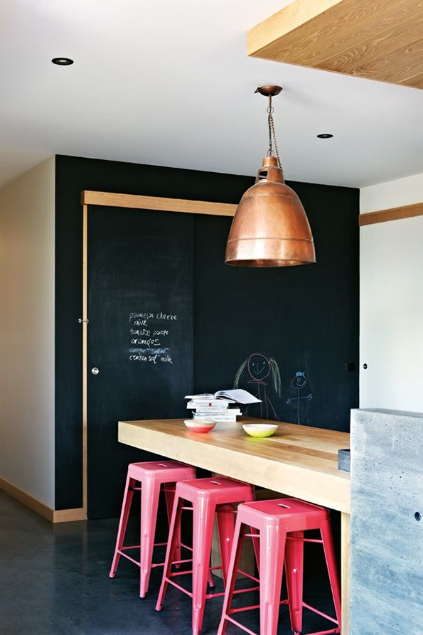 Chalkboard wall, Tolix stools, copper lighting, butcher board counters ... heaven.