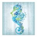 Pretty blue seahorse shower curtain on