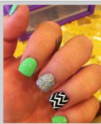 Lime green glitter chevron nails   Nail art   Pinterest