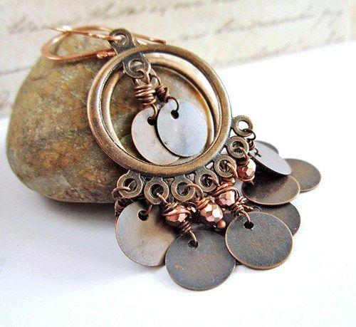 #Copper #Chandelier #Earrings, #Gypsy Bohemian #Boho Style #Handmade by #AnnaArtist on #artfire #jewelry