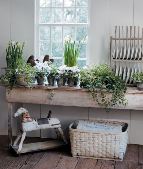 I want a bench like this one for my potting/back porch for in front of the windows.  love the basket and little horse underneath too :>