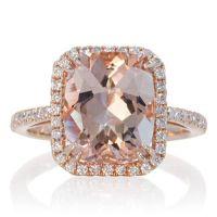 Halo Ring: Rose Gold Morganite Cushion Halo Ring