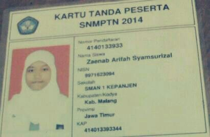 Kartu Snmptn 2014 Asyiiiiiiik D Bismillah