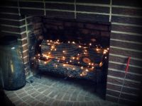 twinkle lights in the fireplace | December/Christmas ...