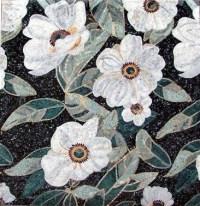 floral mosaic tiles - white flowers | Mosaic beauty ...