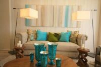 Beige, aqua and green living room | David Bromstad design ...