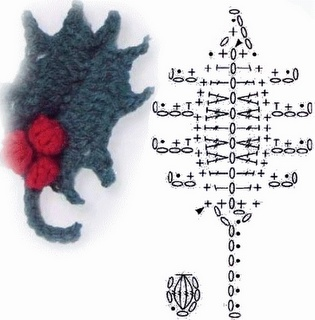 Crochet Holly and Berries - Chart  ❥ 4U // hf
